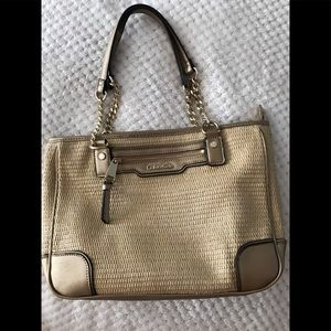 Calvin Klein SOLD OUT Saffiano Straw Shopper Purse